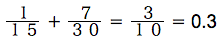 spi非言語 確率練習問題 1/15+7/30=3/10= 0.3