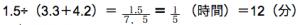 速さ 練習問題 1.5÷(3.3+4.2)=1.5/7.5=1/5(時間)=12(分)